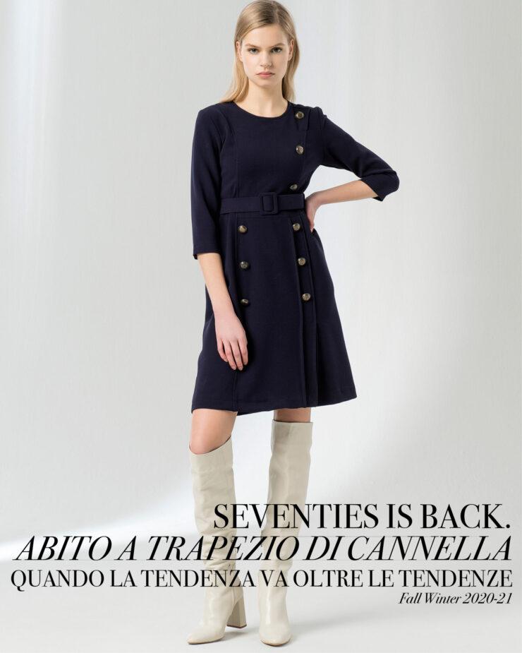Seventies is back | Abito a trapezio di Cannella | FW 2020.21